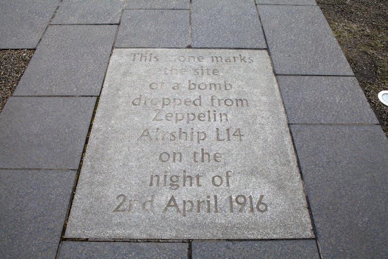 策帕林飞艇炸弹匾在爱丁堡 免版税库存照片