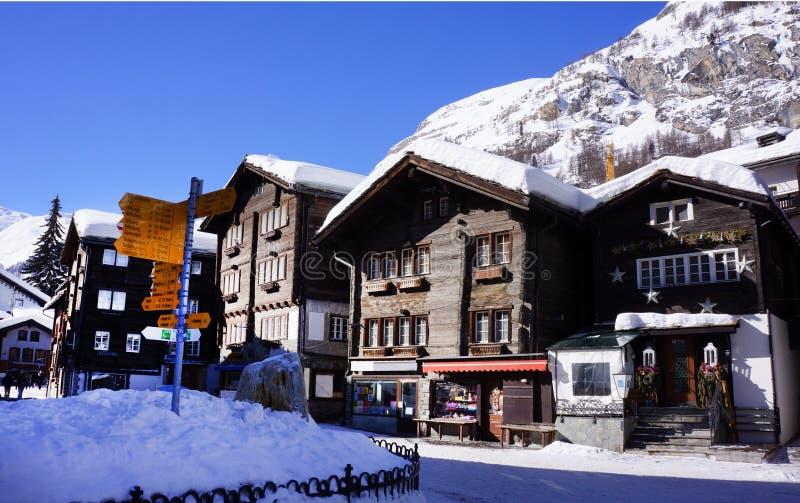 策马特村庄,瑞士 图库摄影