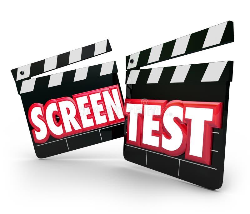 筛分试验电影拍板试演Peformance行动的Tryo 库存例证