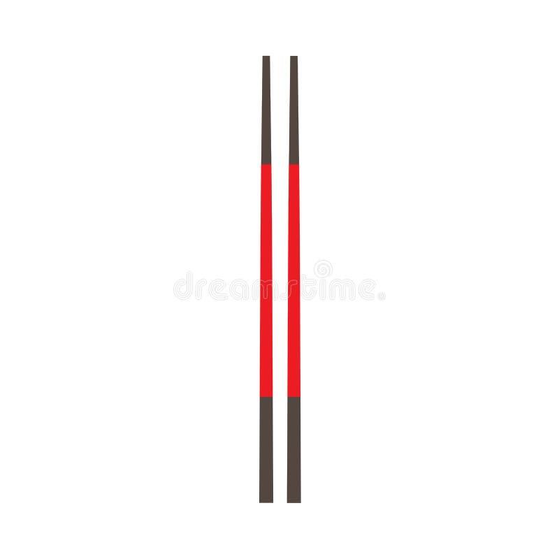 筷子传统午餐亚洲文化传染媒介象 海鲜标志,特写镜头集合平的工具 向量例证