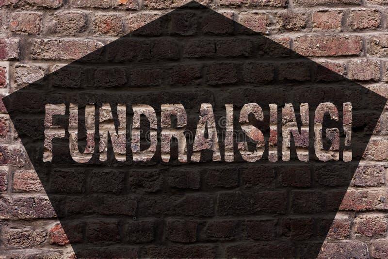 筹款手写的文本 概念意思寻找财政支持慈善原因或企业砖墙 库存图片