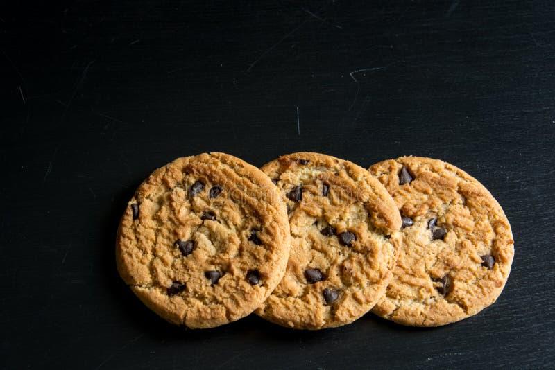 筹码巧克力cookiese燕麦粥 免版税图库摄影