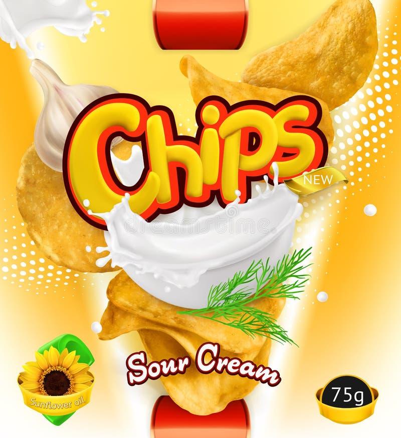 筹码查出土豆白色 酸性稀奶油味道 包装的设计,传染媒介模板 库存例证