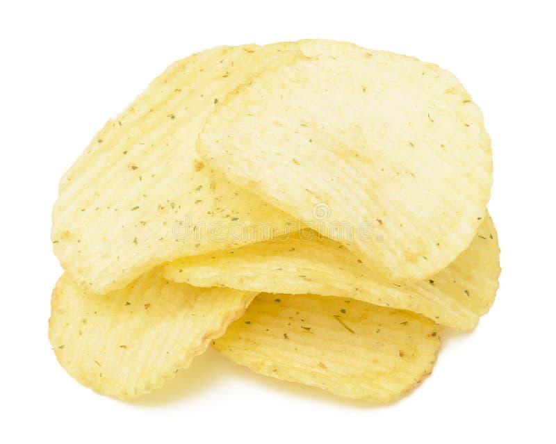 筹码波纹状的土豆 免版税库存图片