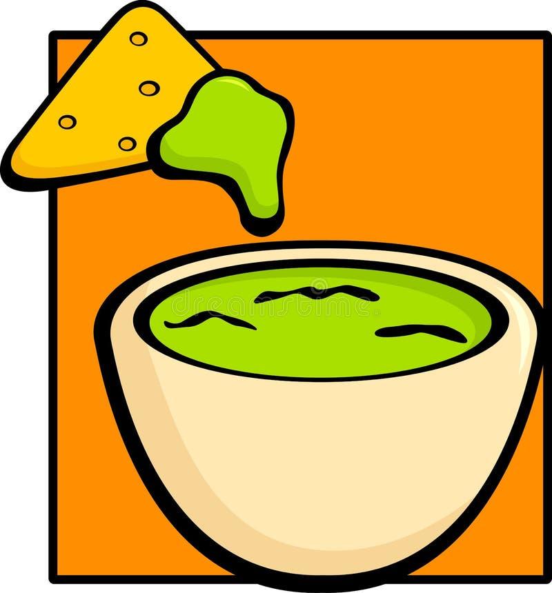 筹码鳄梨调味酱捣碎的鳄梨酱玉米饼 向量例证