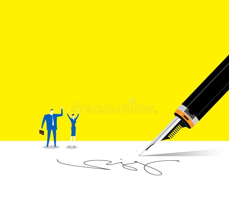 签了合同 免版税库存照片