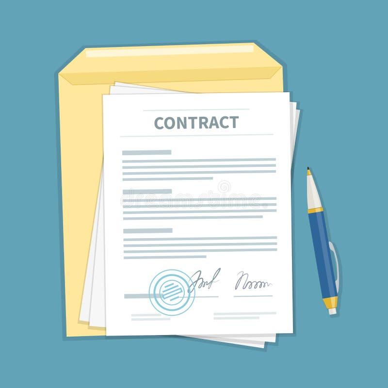 签了同邮票,信封,笔的一个合同 文件的形式 财政协议概念 顶视图 库存例证