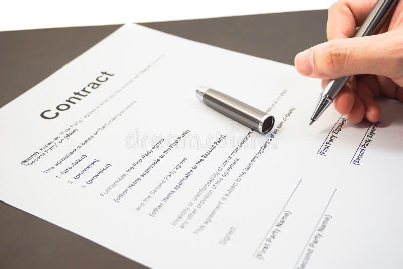 签企业合同 库存图片