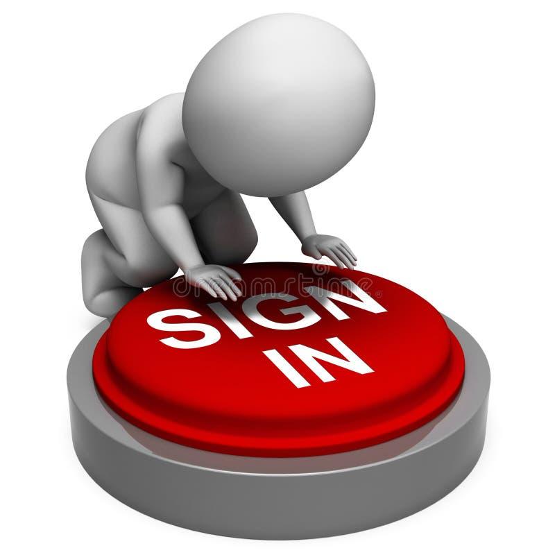 签到按钮展示会计分录和安全 向量例证