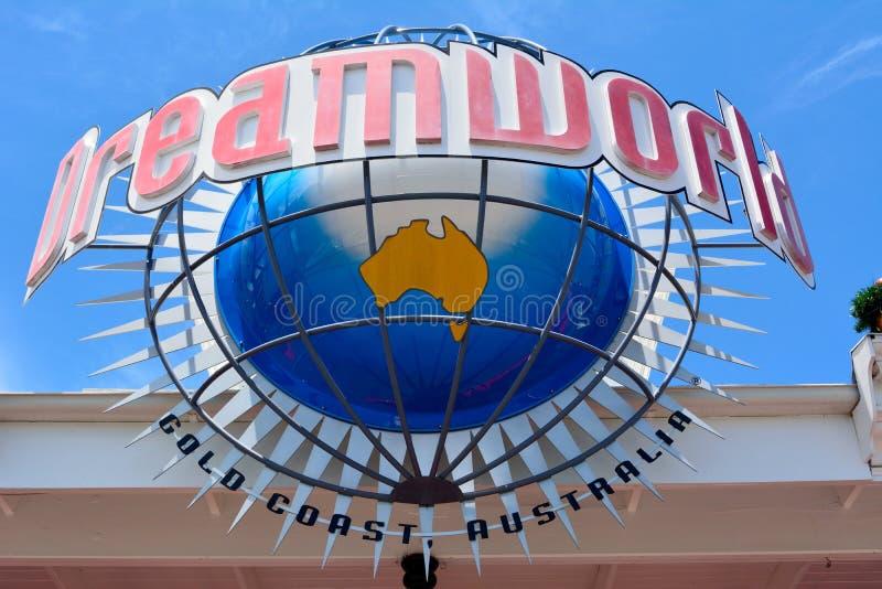 签字在入口到梦境主题乐园在澳大利亚 免版税库存图片