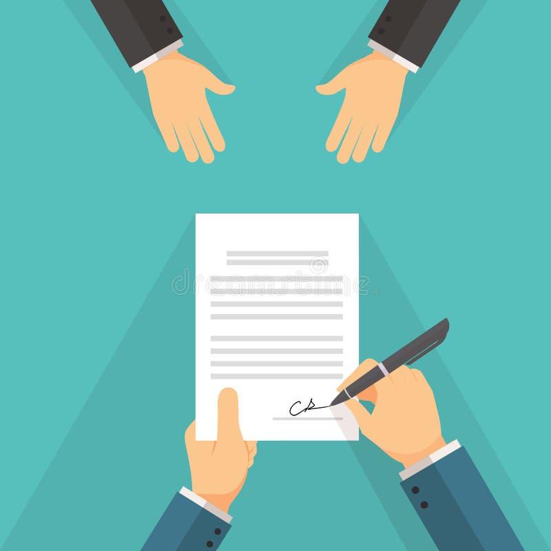 签字在合同约定文件的商人 皇族释放例证