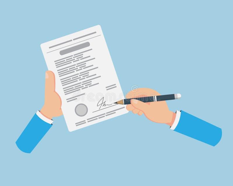 签字在合同纸的平的手 皇族释放例证