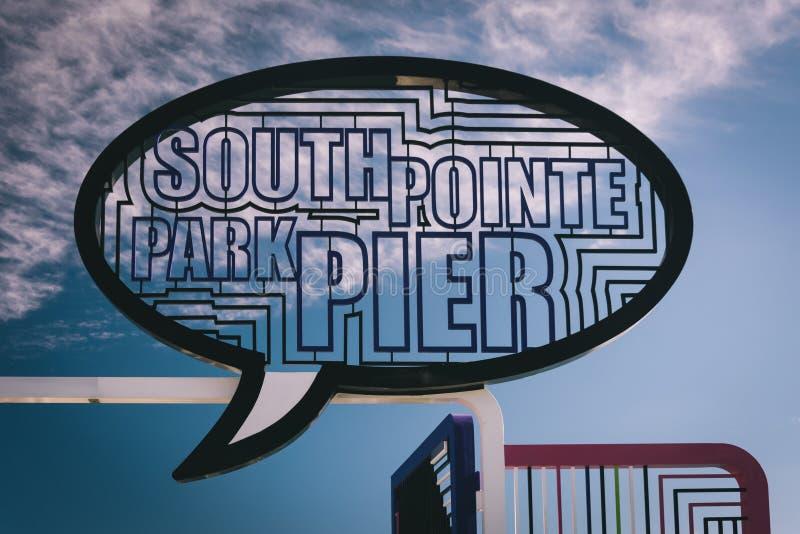 签字在渔码头在南Pointe公园,迈阿密海滩,弗洛尔 免版税库存图片