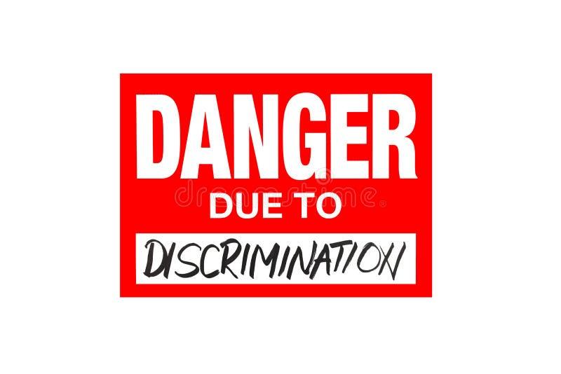 签署危险由于在白色隔绝的歧视 库存例证