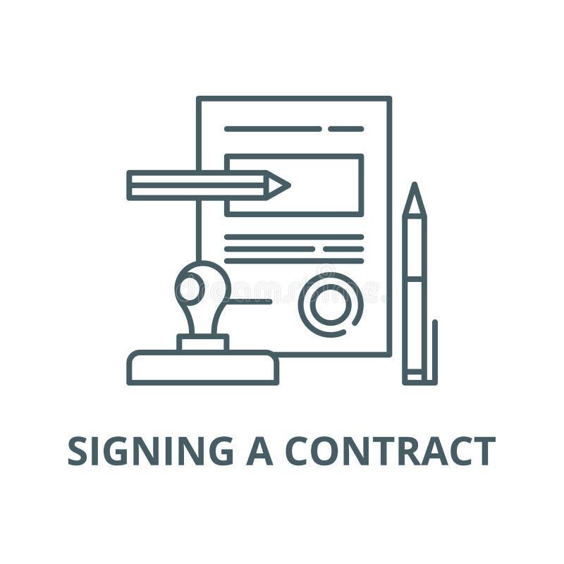 签署合同传染媒介线象,线性概念,概述标志,标志 皇族释放例证