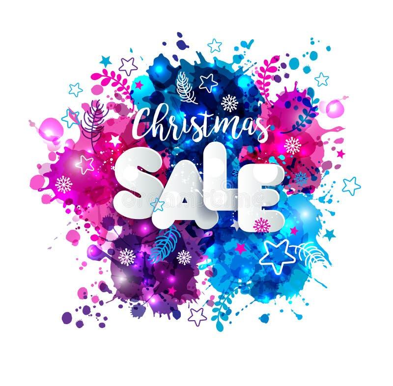 签署在纸样式的圣诞节销售在多色手拉 向量例证