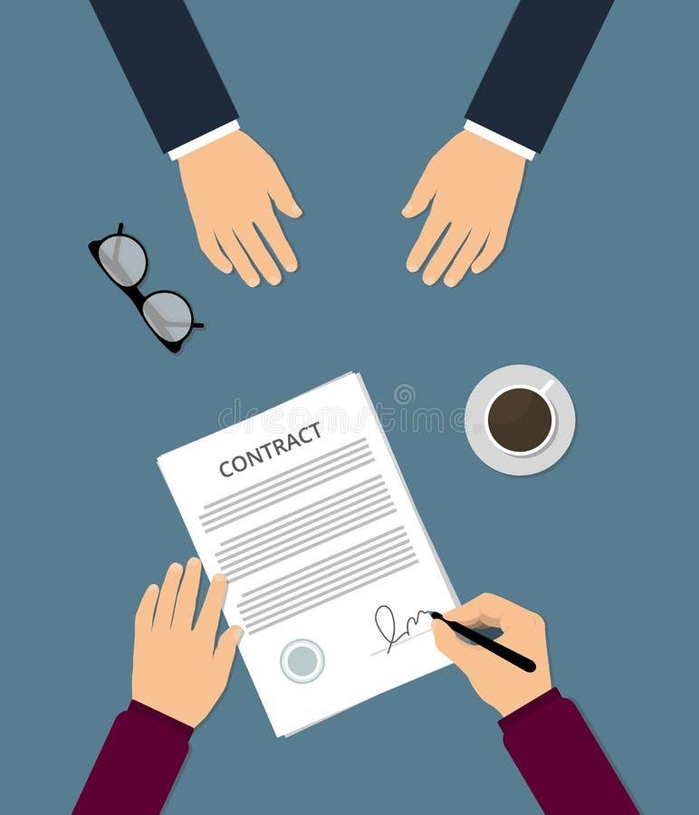 签署平的传染媒介例证的合同 库存例证