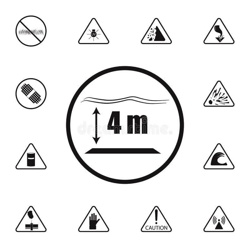签署水池象的深度 详细的套警报信号象 优质质量图形设计标志 一汇集我 向量例证