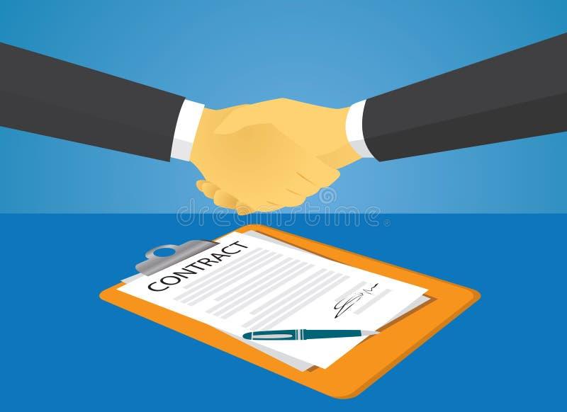 签署法律协议概念的合同 也corel凹道例证向量 向量例证