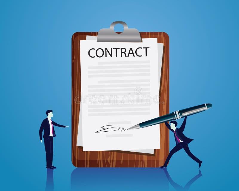 签署法律协议概念的合同 也corel凹道例证向量 皇族释放例证