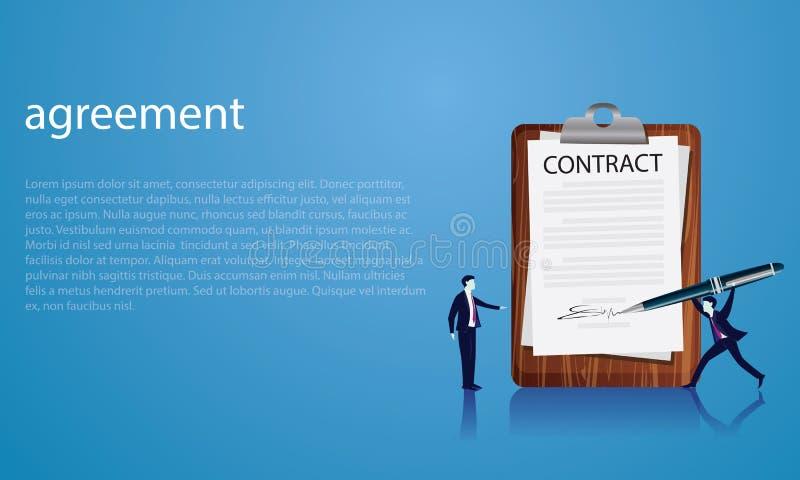 签署法律协议概念的合同 也corel凹道例证向量 库存例证