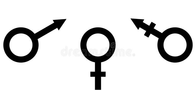 签署男女平等男性、女性和变性平等的标志 库存例证