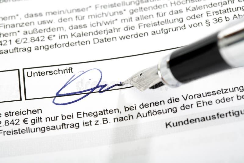 签署豁免顺序 库存图片