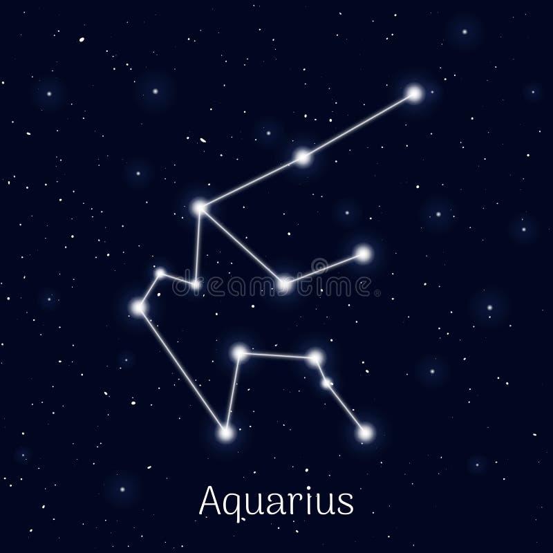 签署黄道带宝瓶星座,夜空背景,现实 库存例证