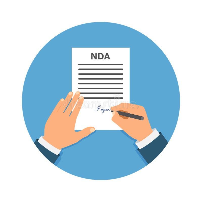 签署NDA的色的Cartooned手 合同签字的文件 NDA概念 归档秘密 库存例证