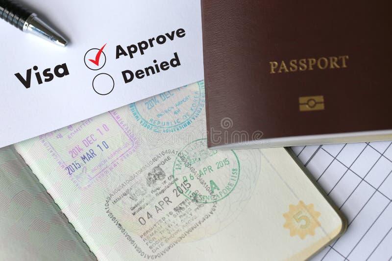 签证和护照对在文件顶视图盖印的批准  库存照片