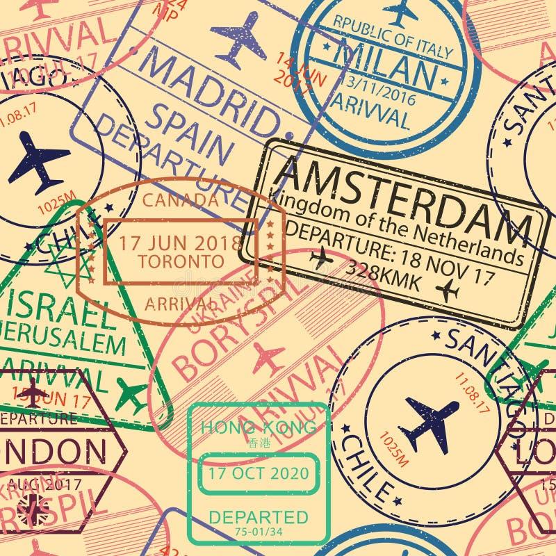 签证图章无缝的样式 与机场邮票的背景护照的 移民和旅行签证标志背景 向量 向量例证