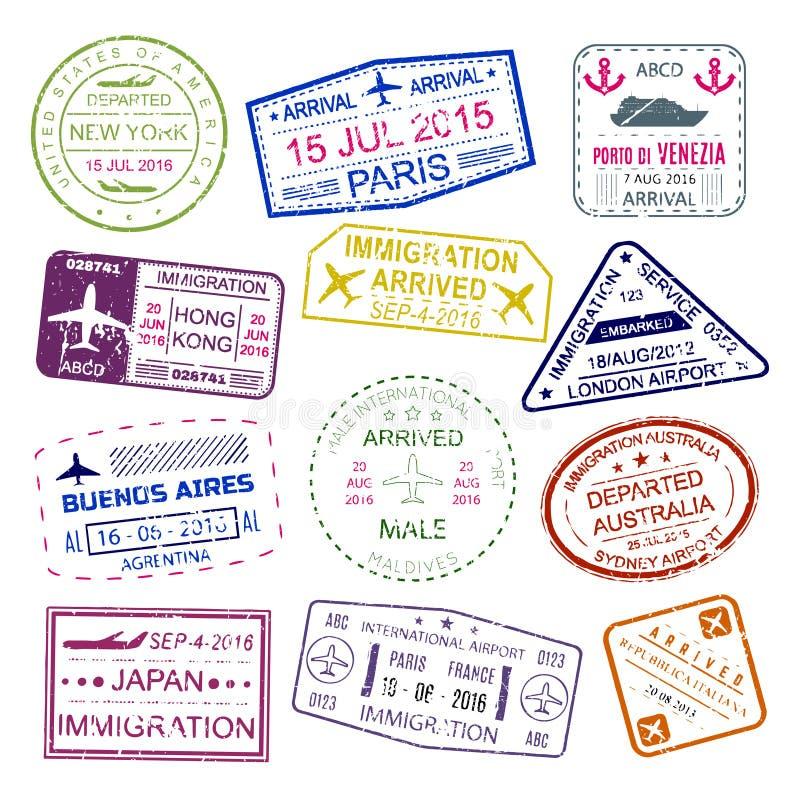 签证图章明亮的设计收藏 库存例证