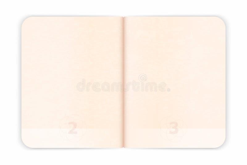 签证图章的传染媒介护照空白页 与水印的空的护照 皇族释放例证
