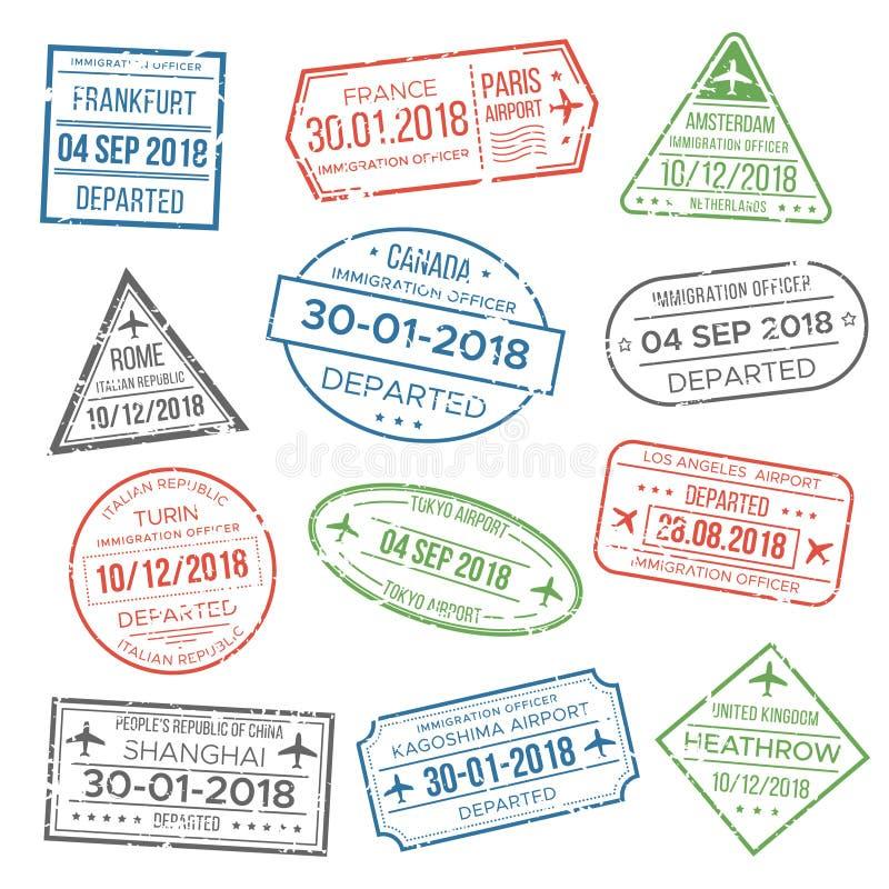 签证旅行的护照邮票 移民向中国,意大利,能 皇族释放例证