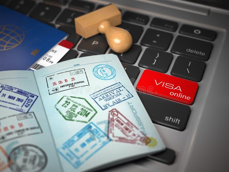 签证线上申请概念 与签证图章的被打开的护照 皇族释放例证