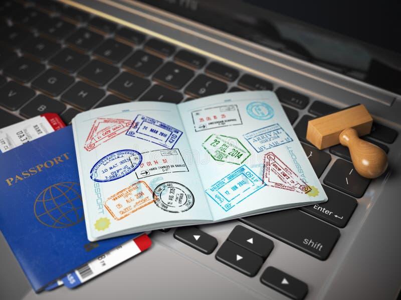 签证线上申请概念 打开与签证图章的护照 向量例证