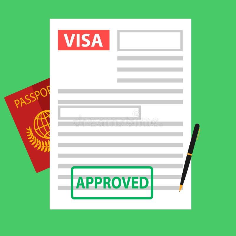 签证,文件,护照的注册移民的 库存例证
