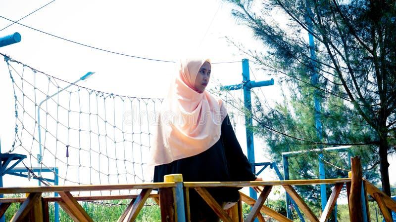 简单与hijab ootd 库存照片
