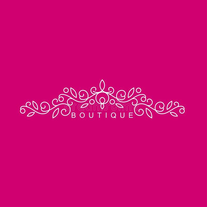 简单和优美的花卉组合图案设计模板,典雅的lineart商标,传染媒介例证 对精品店,沙龙 免版税库存图片