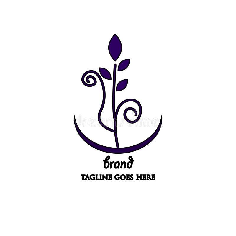 简单和有吸引力的紫色植物商标 向量例证