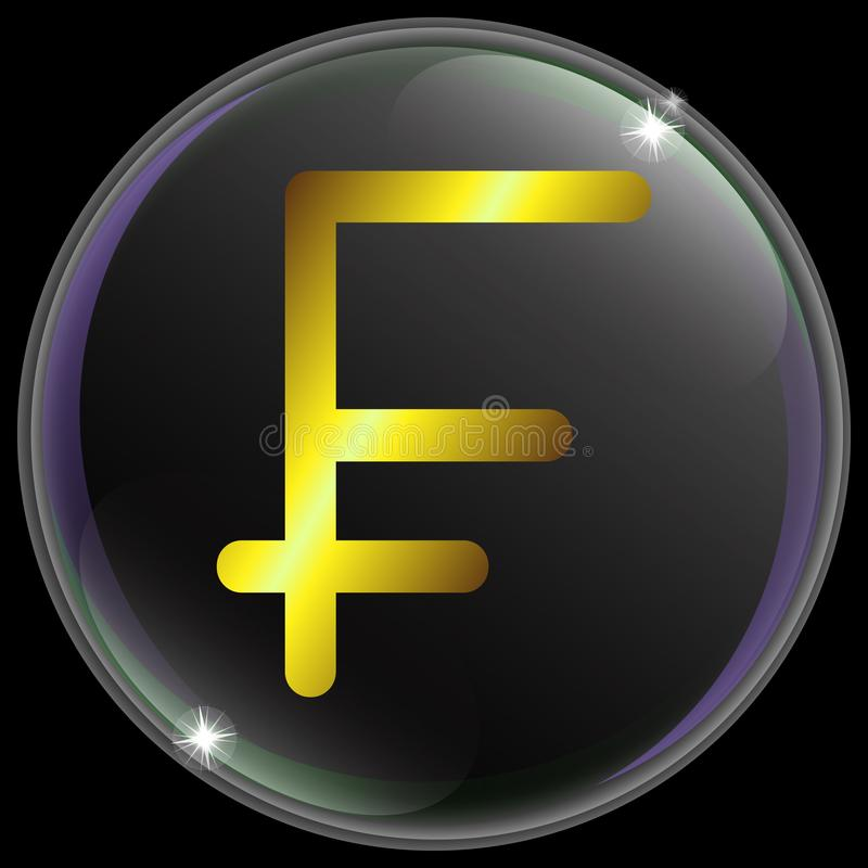 简单和现实瑞士法郎货币符或标志的传染媒介例证与金子梯度 皇族释放例证