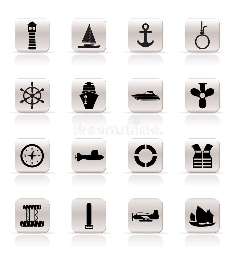 简单图标海洋航行的海运 库存例证