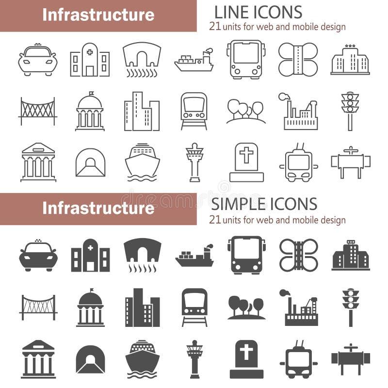 简单城市的基础设施和线为网和流动设计设置的象 皇族释放例证