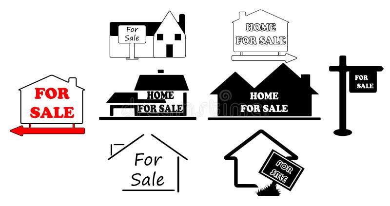 简单房屋销售的符号 库存例证