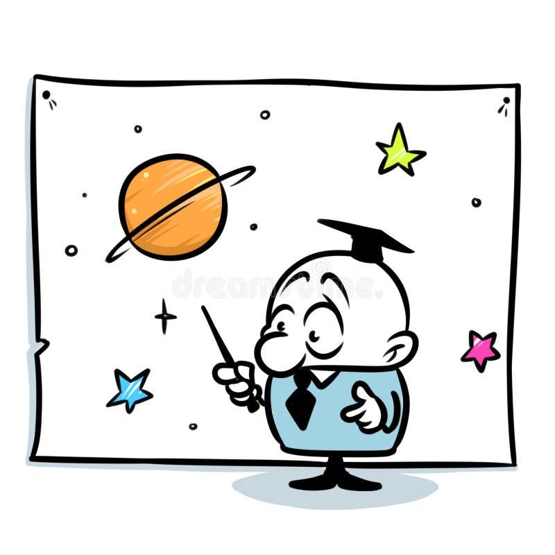 简单派例证教授天文学家演讲星图动画片 向量例证