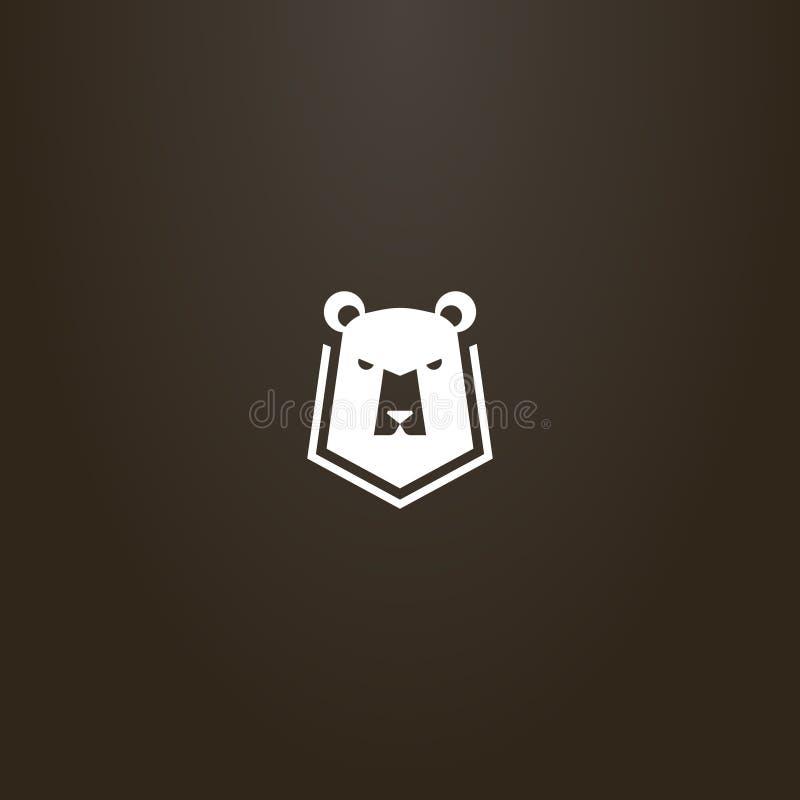 简单的一个熊头的传染媒介平的艺术标志在盾的 皇族释放例证
