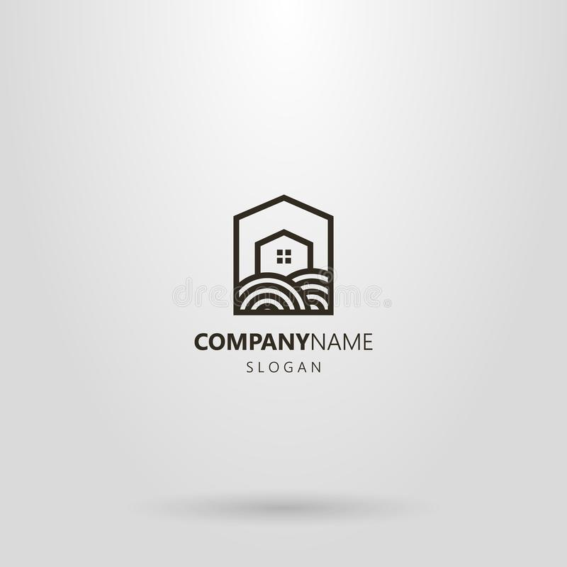 简单的一个私有房子的线艺术商标地皮的一个五角形框架的 库存例证