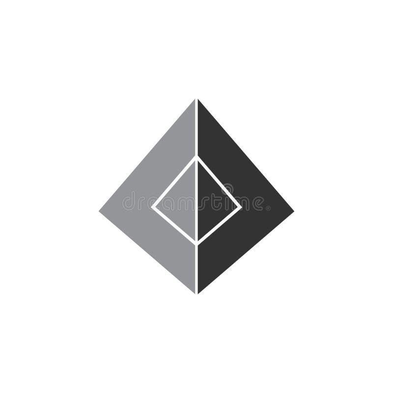 简单的三角3d金字塔几何商标 皇族释放例证