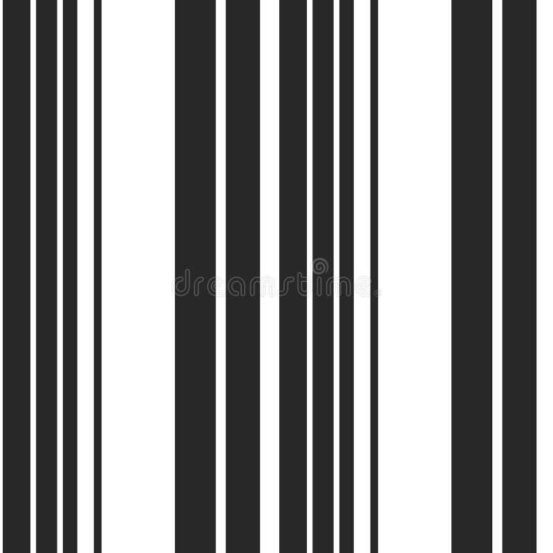 简单的与黑白垂直的平行的条纹的条纹无缝的样式 传染媒介摘要样式条纹背景 皇族释放例证