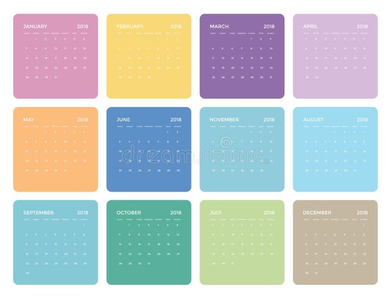 简单的五颜六色的普遍日历在2018年 向量例证